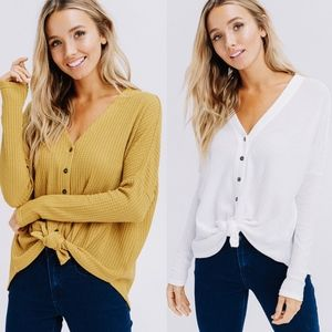 CAITLIN Front Tie Button Down Top - OFF WHITE